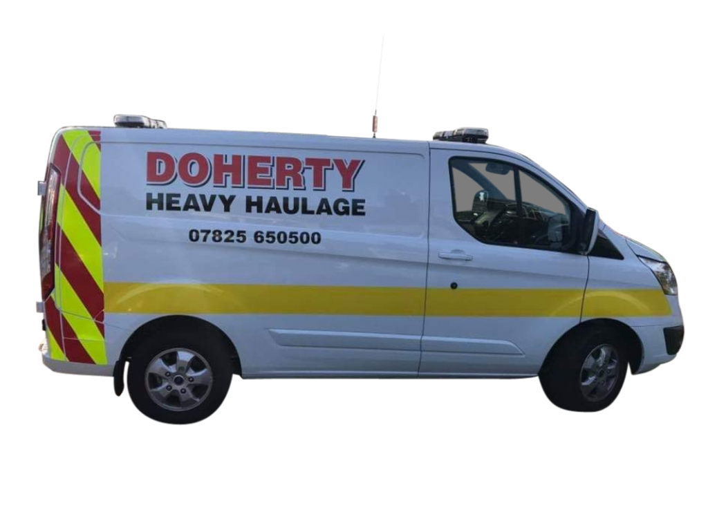 Image shows Doherty Heavy Haulage Escort Vehicle which is normally a transit van which can deploy either behind or in front of the Convey
